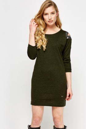 Detailed Shoulder Knitted Mini Dress