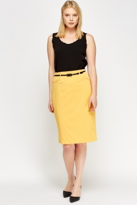 High Waist Belted Pencil Skirt