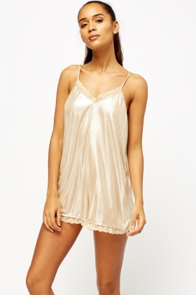 Metallic Lace Trim Playsuit