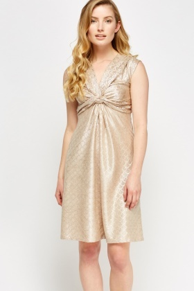 Metallic Textured Ruched Dress