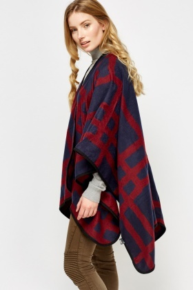 Printed Fleece Wrap Poncho - Just £5