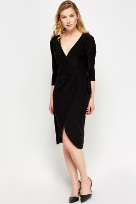 Sateen Wrap Tied Midi Dress