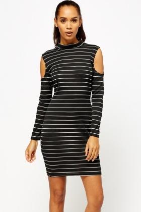 fd73f866d3a81f Striped Ribbed Cold Shoulder Dress - Just £5