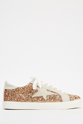 Contrast Glitter Low Top Trainers