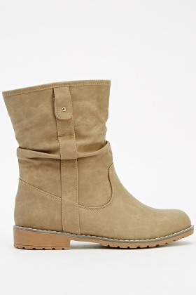 Ruched Ankle Khaki Boots