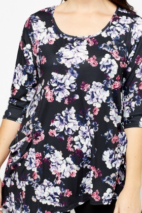 Black Multi Floral Asymmetric Top