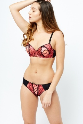 Lace Detailed Bra And Brief Set