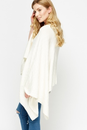 Off White Asymmetric Poncho