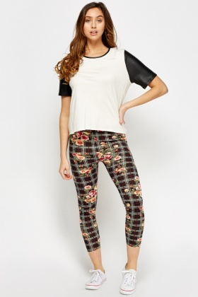 Checked Floral Print Leggings