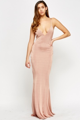 Open Back Plunge Maxi Dress