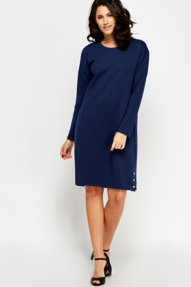 Button Embellished Sides Jumper Dress