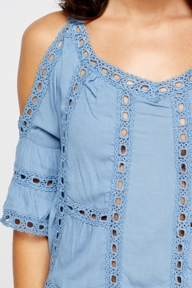 Embroidered Cut Out Cold Shoulder Top