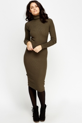 fb761041f74 High Neck Ribbed Knit Midi Dress - Just £5