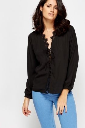 Lace Trim Tie Up Front Blouse