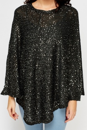 Sequin Embellished Knit Poncho