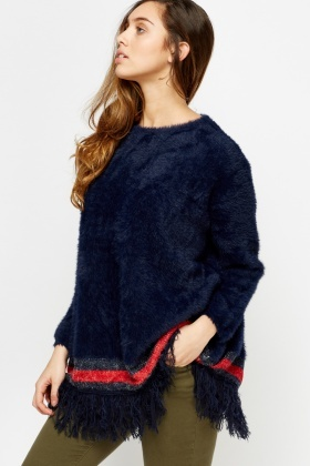 Teddy Bear Fringed Hem Jumper