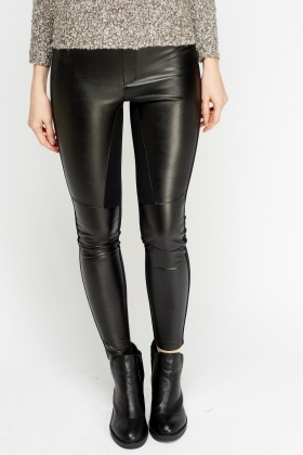 Faux Leather Front Leggings