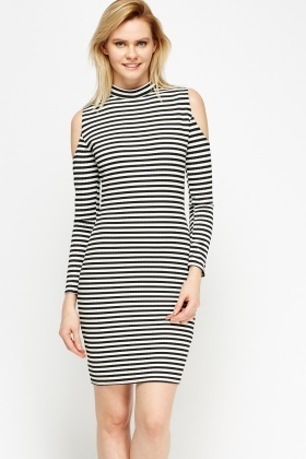 Ribbed Striped High Neck Dress