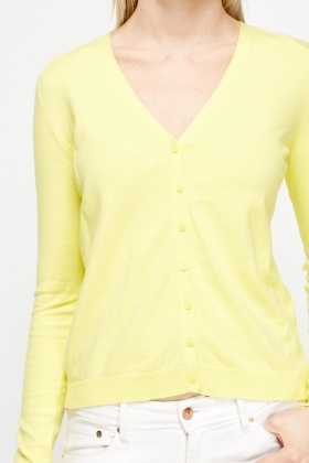 Yellow V-Neck Cardigan