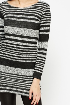 Black Striped Bodycon Knitted Top