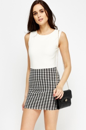 Houndstooth Bodice Mini Dress