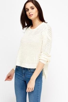 Loose Knit Dip Hem Jumper