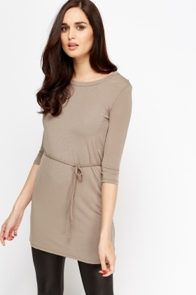 Tie Up Waist Tunic Dress