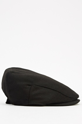 Mens Black Flat Cap