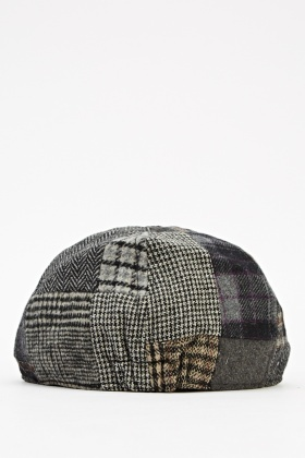 Mixed Houndstooth Patch Flat Cap - Just £5 773e2eec244