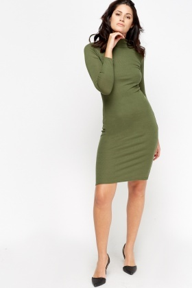 High Neck Bodycon Midi Dress