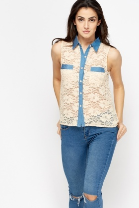 Lace Denim Contrast Dip Hem Top