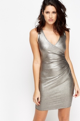 Metallic Ruched Side Dress