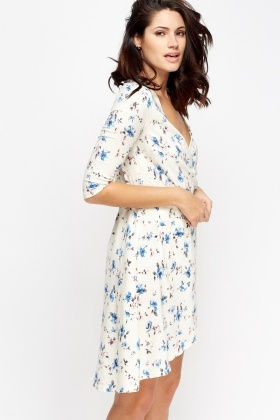 Wrap Off White Floral Shift Dress