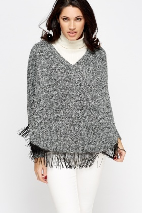 Box Tassel Trim Poncho Jumper