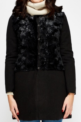 Faux Fur Contrast Coat