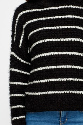 High Neck Stripe Eyelash Jumper