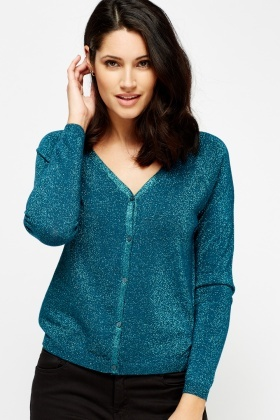 Metallic V-Neck Cardigan
