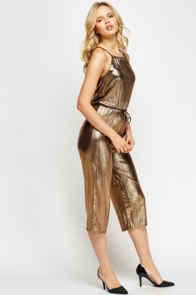 Gold Metallic Cropped Jumpsuit