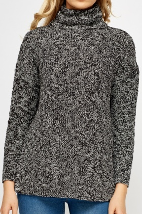 Slit Side Speckled Knit Jumper