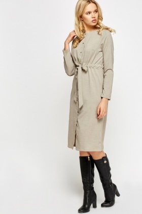 Taupe Button Tie Up Dress