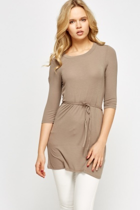 Taupe Longline Tie Up Top