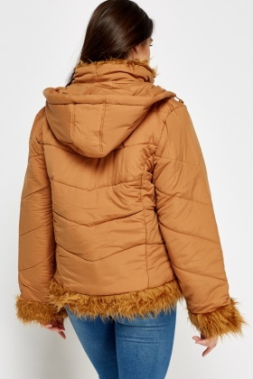 Faux Fur Trim Puffa Jacket