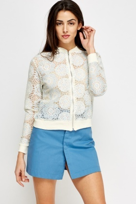 Floral Mesh Light Bomber Jacket
