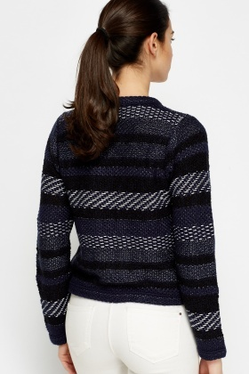 Navy Metallic Knitted Cardigan