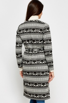 Printed Long Line Cardigan