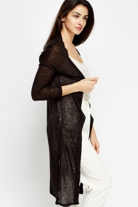 Thin Slit Long Cardigan