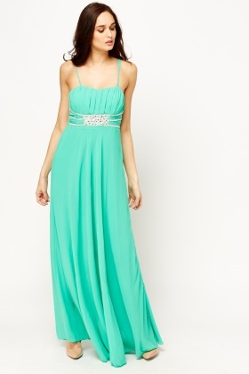 Encrusted Pleated Maxi Dress