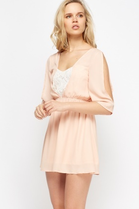 Lace Insert Tie Back Skater Dress