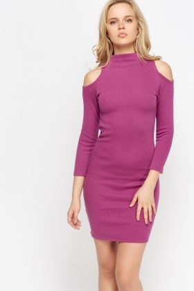 Ribbed Cold Shoulder Bodycon Dress
