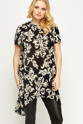 Jacquard Cold Shoulder Top
